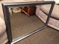LARGE SILVER BEVELLED MIRROR