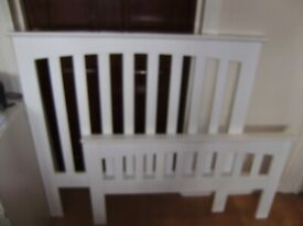 Single bed frame, solid wood, white, standard UK size, good condition