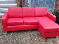Superb Brand New Red leather corner sofa. or use as 3 seater and puff. can deliver