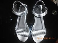 New (with tags) Ladies Striped - Black and White Wedges (5cm), size 5 (38)