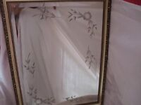 MIRROR BEVELLED EDGE ETCHED WITH FLOWERS 67 X 51 CM PERFECT CONDITION
