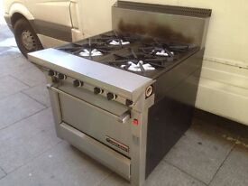 CATERING COMMERCIAL BIG 4 BURNER GAS COOKER OVEN FAST FOOD RESTAURANT KITCHEN SHOP BAR KEBAB