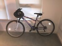 New ladies mountain bike immaculate with helmet and warranty full size 17 inch
