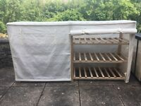 Cloth wardrobe with matching shoe rack
