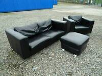 Black Leather Sofa,Armchair+Footstool *Free Delivery*