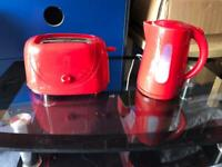 Kettle & Toaster - Red in Colour