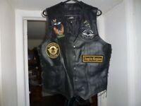 Biker leather wast coat