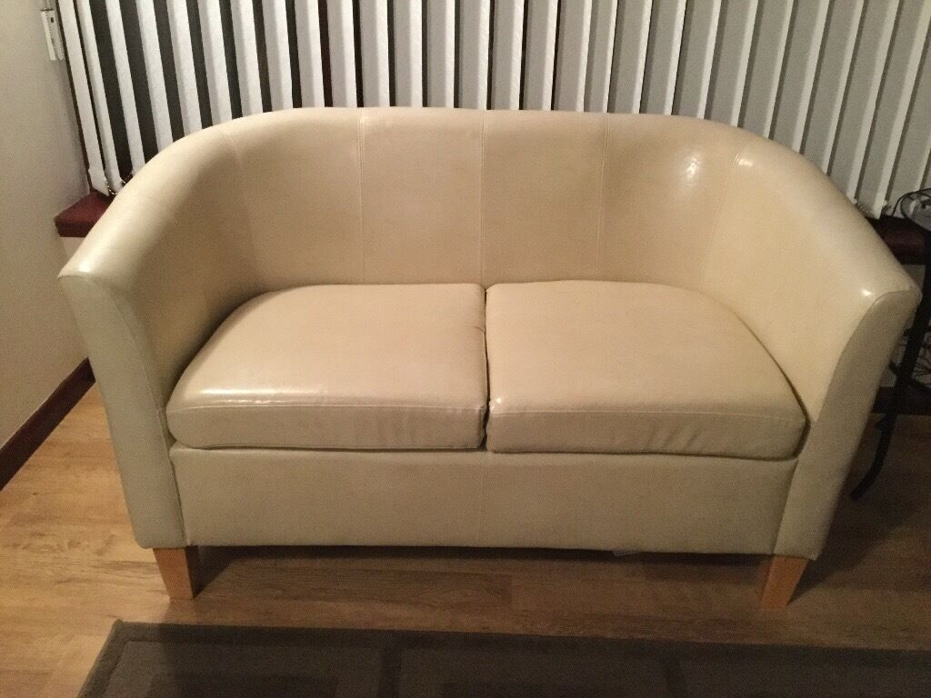Cream Faux Leather 2 Seater Tub Sofa In Bonnyrigg Midlothian Gumtree