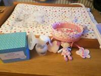 Breast pump, changing board with mat, cot mobile, breast pads