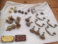 Antique brass cupboard knobs and fittings