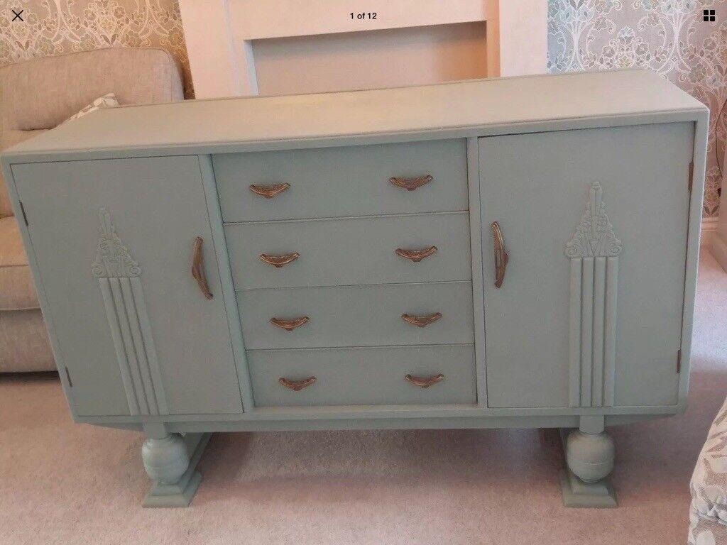 Vintage Dresser Side Table Upcycled In Duck Egg Blue