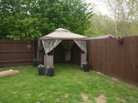 New spacious garden luxury steel frame gazebo with mosquito net