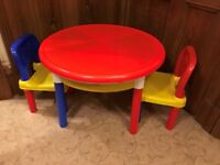 Lego Table (with cover) plus 2 Chairs **Excellent Condition**