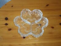 Shaped glass bowl / dish with compartments