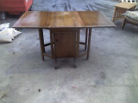 EXTRA LARGE SOLID OAK DROP LEAF GATE LEG FOLDING TABLE WITH STORAGE - GOOD CONDITION