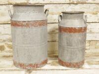 Set of 2 Garden Galvanised Milk Churn Jug