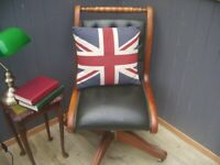 Stunning Leather Chesterfield Captains Chair