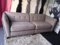 New 4 Seater Sofa Button Detail Two Tone Sofa In Grey And Dark Mink