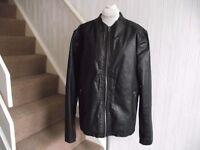 Mens Black Leather Jacket Size XL. Barneys Biker Style Genuine Oiled Leather