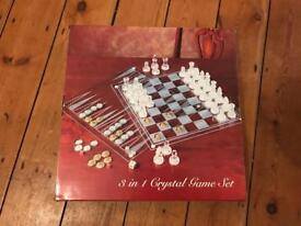 3 in 1 crystal games set - chess, draughty and back gammon