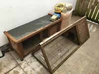 Rabbit/Guinea Pig Hutch with a Garden Run - with sawdust, hay and new bags of food