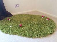 Grass play rug with mushrooms (playroom imaginative play)
