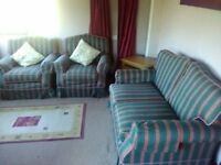 STRIPED 2 SEATER SOFA WITH 2 ARM CHAIRS,CAN DELIVER