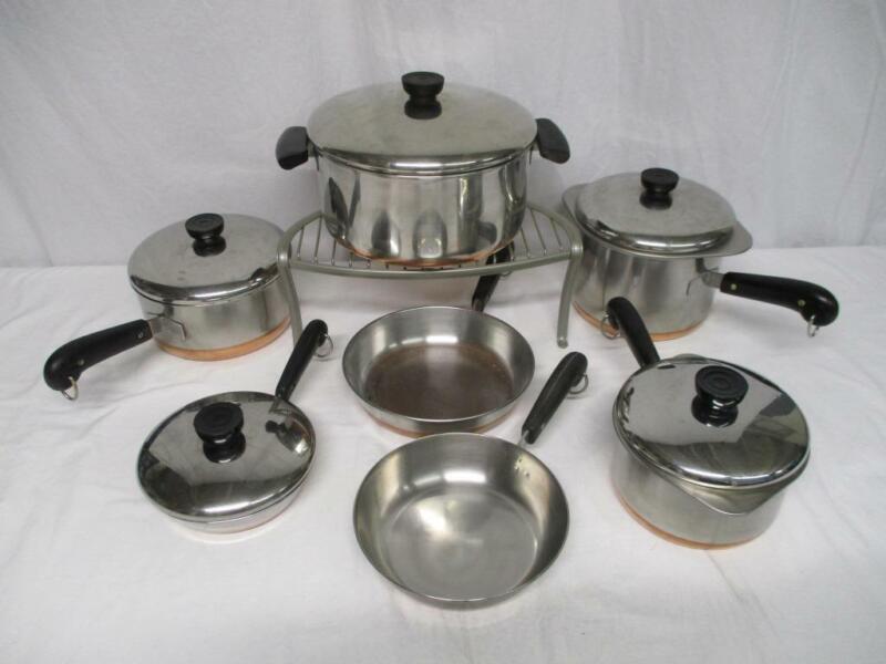 Revere Ware pre-1968 copper clad stockpot saucepans skillets lids pots pans SET