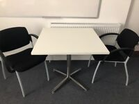 WHITE SQUARE TABLE ON SILVER LEGS