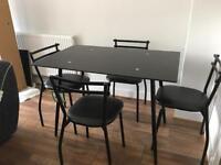 Black gloss glad table & 4 seats