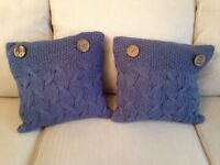 Pair of Blue Woollen Knit Cushions