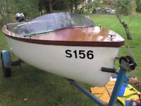 12 ft day boat, ideal for fishing or relaxing on the river c/w road trailer & 2hp outboard