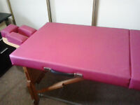 Massage/Reiki table. Hand made - solid wood base with tough vynyl top. Adjustable legs.