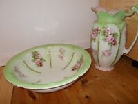 Vintage jug and ewer, floral pattern in green and pink.