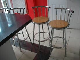 4 kitchen breakfast bar stools in chrome finish with circular seats