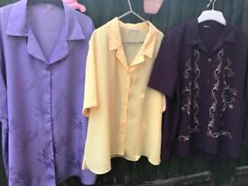 2x size 22uk polyester Blouses /shirts as new £10 the lot