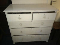NICE ANTIQUE EDWARDIAN SOLID OAK CHEST OF 5 DRAWERS SHABBY CHIC