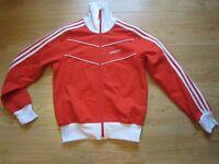 Adidas women's red and white zip-up top medium
