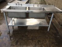 stainless steel double commercial sink.