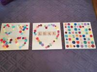 3x Love canvas