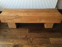 Rustic Sleeper Style Solid Wood Coffee Table