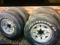 4x4 Jeep alloy wheels and tyres 225 75 R15 removed from Toyota but very universal fit most 4x4s