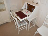 SMALL BUREAU / WRITING DESK AND CHAIR PAINTED COUNTRY WHITE