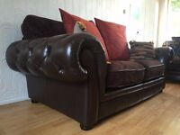 Dark Brown Leather and Fabric Chesterfield, Tetrad style 2 seater Sofa DELIVERY