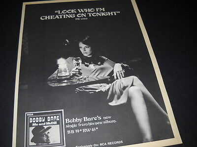 BOBBY BARE says LOOK WHO I'M CHEATING ON TONIGHT 1977 Promo Poster Ad mint cond