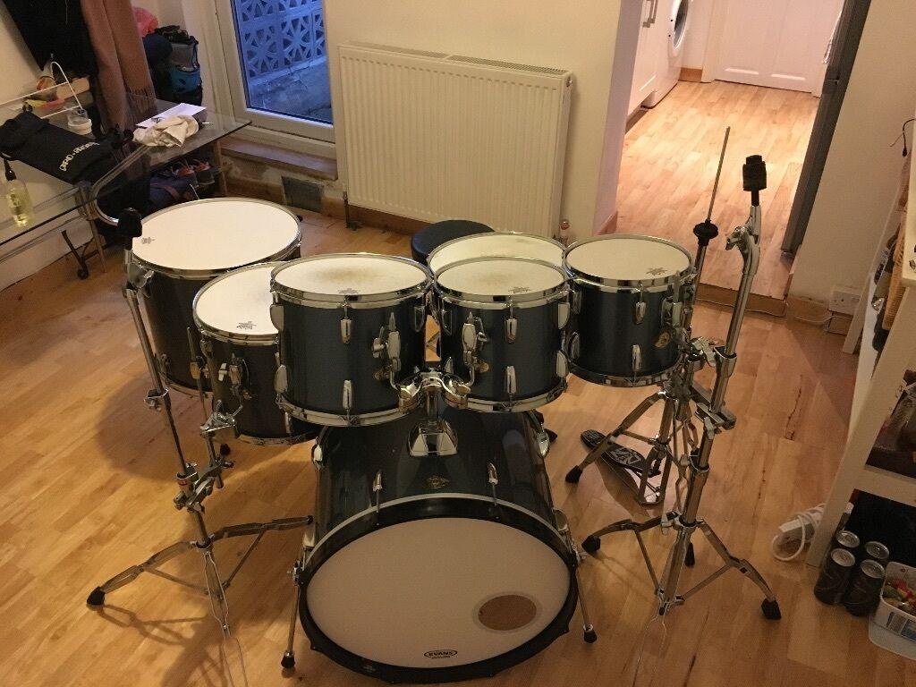 Tama Swingstar 7 Piece Drum Kit In Metallic Grey Including Extras
