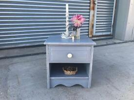 Painted bedside cabinet, shabby chic grey colour distressed
