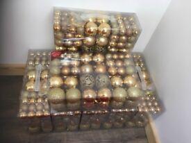 Christmas shatterproof gold baubles bundle