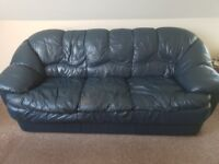Blue leather 3 seater sofa, armchair and stool ASAP. Some wear and tear but very comfy