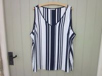 M&S Collection Ladies size 22 top/blouse.Navy and white stripe.